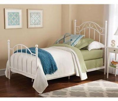 Metal Bed Frame Headboard & Footboard Iron Twin Size Bedroom Furniture White New