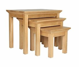 EX-DISPLAY Westminster Nest of 3 Tables - Oak & Oak Veneer