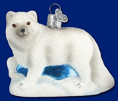 GLISTENING ARCTIC FOX OLD WORLD CHRISTMAS GLASS WHITE WILDLIFE ORNAMENT 12296