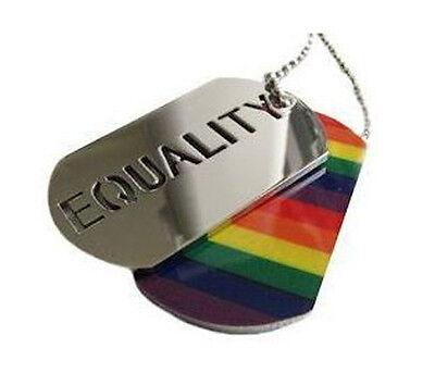 Pride Shack - Lesbian / Gay Pride Equality Rainbow LGBT Pendant Necklace Dog Tag - Gay Pride Necklace