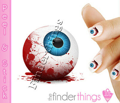 Halloween Eye Stickers (Halloween Bloody Eye Ball Nail Decal Art Stickers)