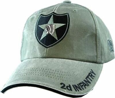 ARMY 2d INFANTRY DIVISION HAT EMBROIDERED U.S MILITARY CAP OD GREEN STONEWASHED