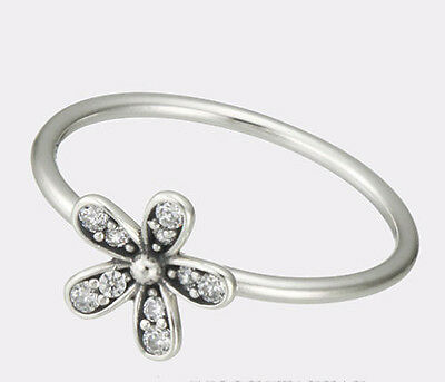 CLEAR CRYSTAL CZ DAISY FLOWER RING .925 Sterling Silver  -  Size 52    US 6