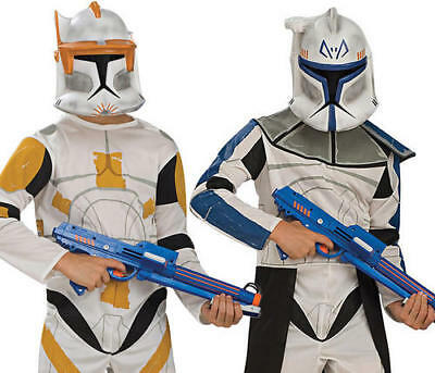 Clone Trooper + Mask Boys Fancy Dress Star Wars Kids Childs Costume Outfit New ()