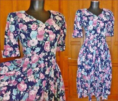 80s Dresses | Casual to Party Dresses Vintage 80s Floral Print Cotton Garden Romantic Tea Party Boho Full Skirt DRESS $44.80 AT vintagedancer.com