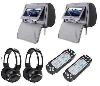 Zone Tech 2x 7 Inch Car Headrest DVD Player Radio TV Monitor+Headphones Gray