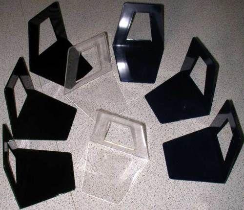 10 Stück Buchstütze Buchstützen Buchständer schwarz blau klar transparent bunt