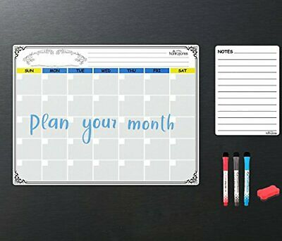 Hantajanss Magnetic Dry Erase Monthly Calendar Set White Board List Organizer L