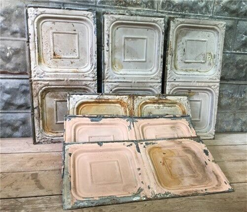 6 Ceiling Tin Panels, Vintage Reclaimed Molding Pieces, Architectural Salvage f,