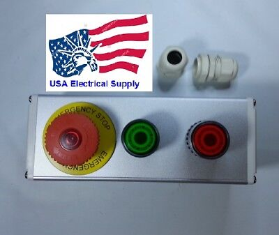 Nc Emergency Stopred Green Momentary Push Button Switch Station Light 110-220v