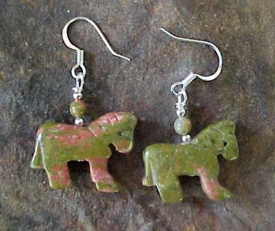 Unakite Stone HORSE Equestrian Fetish Earrings #0212H2