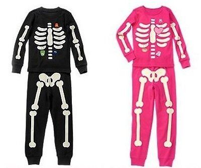 NWT Gymboree SKELETON Halloween Costume 2015 Pajamas/Gymmies Glow-In-The-Dark](Skeleton Pajamas)