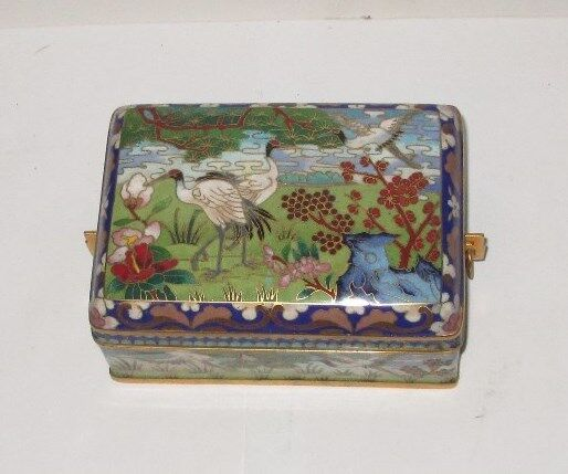 RARE CHINESE CRANES BIRD FLORAL CHERRY BLOSSOMS CLOISONNE ENAMEL HUMIDOR JAR BOX