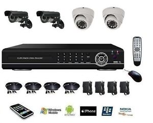 kit de vid o surveillance enregistreur num rique dvr ip 4ch alarme 4 cam ras ebay. Black Bedroom Furniture Sets. Home Design Ideas