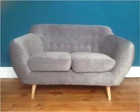 Brand new retro vintage grey two seater sofa