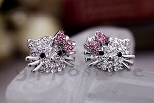 Hello-Kitty-Pink-Bow-Silver-Tone-CZ-Stud-Hip-Hop-Bling-Earrings