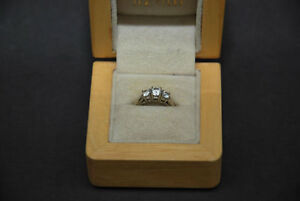 3 Stone Diamond Engagement Ring and Wedding Band