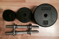 110lbs, spin lock dumbbells cast iron weights in 10, 5, 2.5 YORK