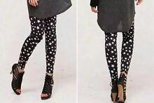 BRAND NEW Black & White Star Print Stretch Leggings Tights S / M North Melbourne Melbourne City Preview