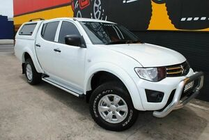 2013 Mitsubishi Triton MN MY14 GLX Double Cab Pure White 5 Speed Manual Utility Melrose Park Mitcham Area Preview
