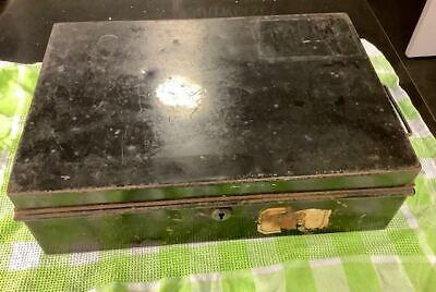 Antique Vintage Large Black Tin Metal Deed Box 13.5