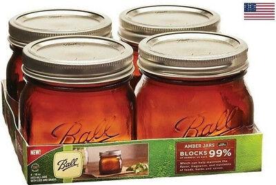 Ball Wide Mouth Pint Canning Mason Jars, Anti UV Amber Glass Jar, 16oz Set Of 4