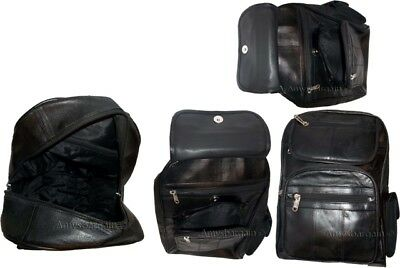 Schwarz Leder Tasche-tag (Neu Leder Rucksack, Knapsack, Ledertasche Buch Tasche Tag mit Etikett)