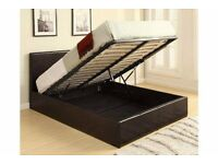 King size ottaman storage bed with or without mattress in chocolate brown