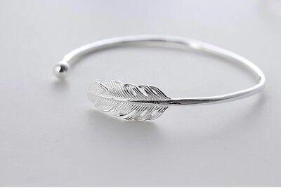 925 Sterlingsilber Armband Damen Armreif Blatt Feder Silber versilbert Filigran