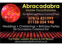Mobile disco/karaoke hire.