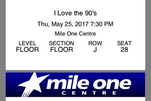 2 floor tickets to I Love The 90s Tour