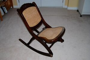 ANTIQUE FOLDING (NURSING) ROCKING CHAIR —probably a reproduction