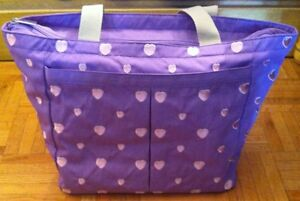 NEW Purple w Pink Embroidered Hearts Diaper Bag
