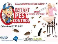 100% Guaranteed Pest Control 24/7 Mice Rat Bedbugs Cockroach Wasps Ants Flea Beetle Moth Spiders etc