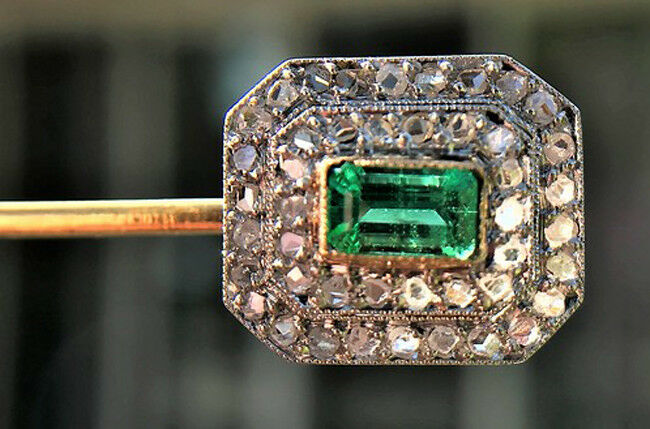 3.20ct ROSE CUT DIAMOND EMERALD ANTIQUE VICTORIAN LOOK 925 SILVER STICK PIN