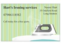Ironing services available, competitive rates