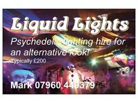 "Vintage Psychedelic ""Liquid Lighting"" Hire for Norfolk Weddings. (Oil Wheel projections)"