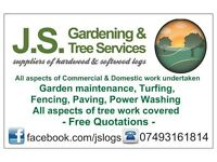 J.S. Gardening & Tree Services suppliers of hardwood & softwood logs