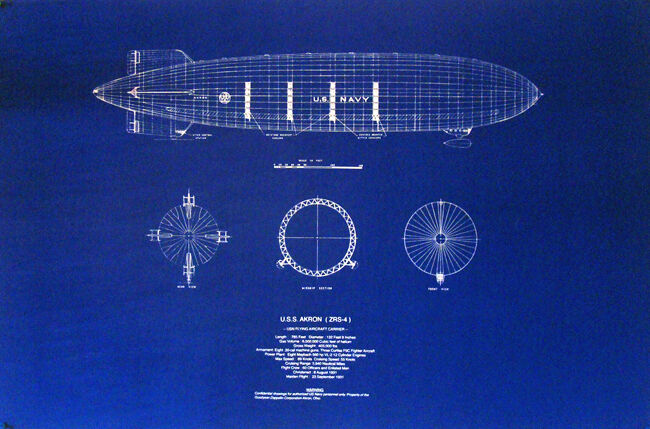 Vintage Goodyear Made Blimp USS Akron 1931 Print Blueprint Plan 22x28   (305)