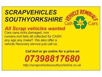 SCRAP VEHICLES BOUGHT (instant payment for cars,vans,4x4s vw audi ford citroen and all others)