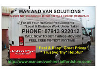 MAN AND VAN HIRE-SINGLE ITEMS-FULL HOUSE MOVES-CHEAP RATES