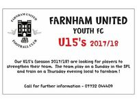 Players Wanted - U15 2017/18