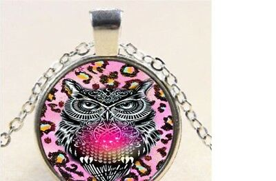 "Silver 20"" Necklace OWL BIRD PINK mom Pendant women men chain key Free $10 GIFT"