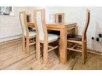 Oak Furnitureland Dining table with six chairs and side unit - make an offer