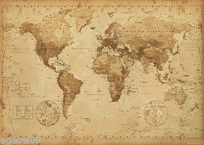 GIANT MAP OF THE WORLD POSTER WALL BRAND NEW ANTIQUE STYLE GREAT GIFT