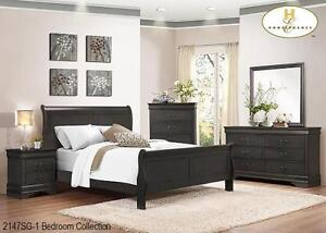 BRAND NEW GORGEOUS 8 PC SLEIGH BED SUITE-GREY/WHITE/WALNUT