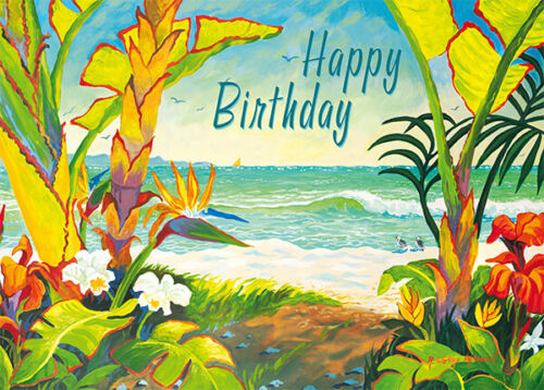 4 GREETING CARDS Hawaii HAPPY BIRTHDAY Time To Chill Beach by Robin Wethe Altman