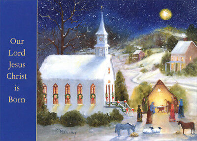 Holy Night Nativity and Church Box of 18 Religious Christmas -