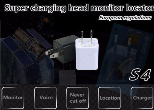SIM Card Voice Activated Spy Wall Charger GSM GPS Tracker Audio Ear spy BUG