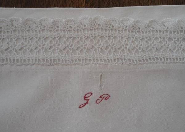 Antique Lingerie Case Red Monogram G Crochet Lace Pillow Cover German Embroidery